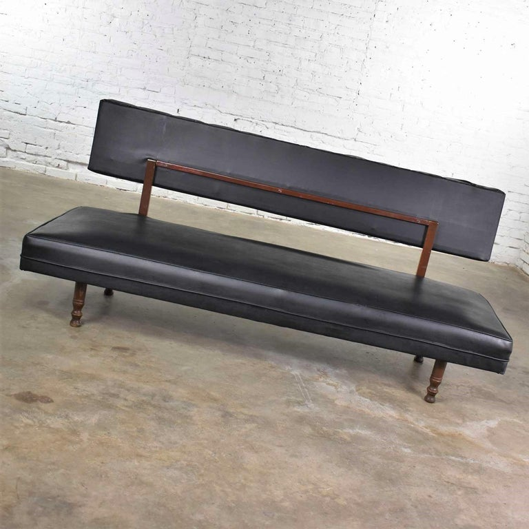 Universal of High Point Midcentury Black Vinyl Faux Leather Convertible Sofa For Sale 5