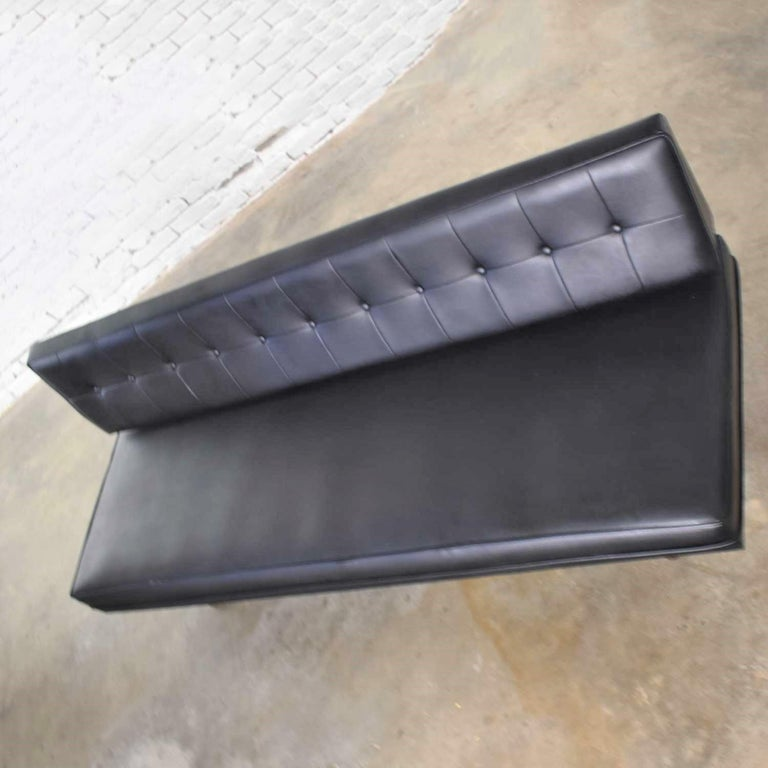 Universal of High Point Midcentury Black Vinyl Faux Leather Convertible Sofa For Sale 6