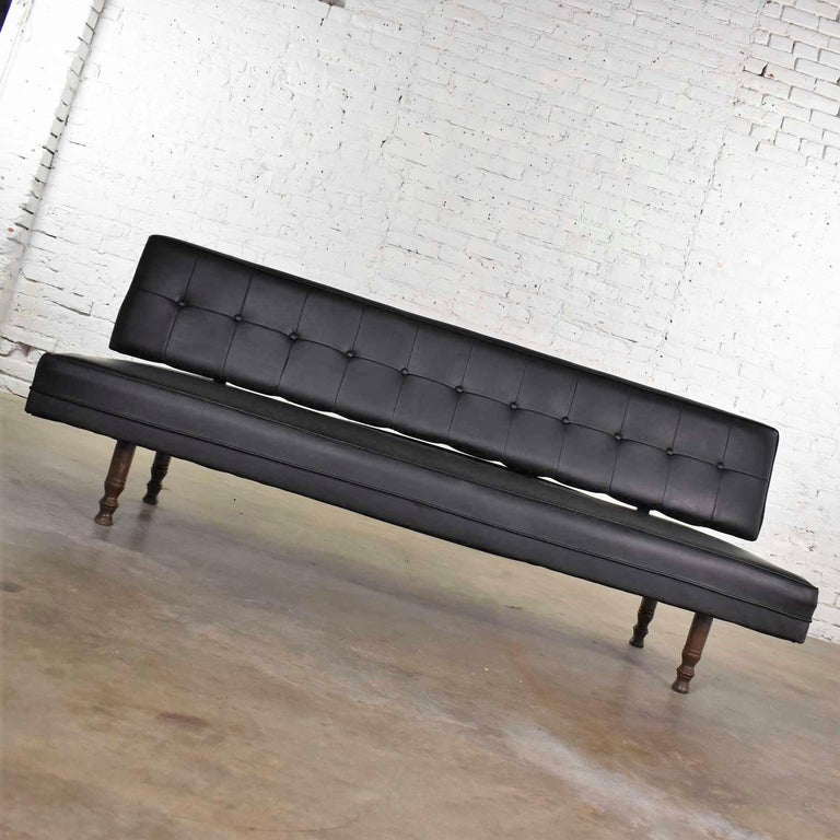 Mid-Century Modern Universal of High Point Midcentury Black Vinyl Faux Leather Convertible Sofa For Sale