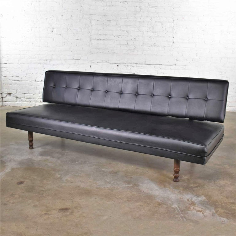 American Universal of High Point Midcentury Black Vinyl Faux Leather Convertible Sofa For Sale