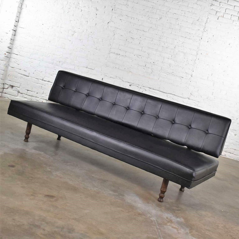 20th Century Universal of High Point Midcentury Black Vinyl Faux Leather Convertible Sofa For Sale