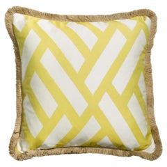 Universo Cedro Yellow and White Geometric Pillow Cushion