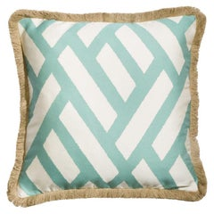 Universo Turchese Blue and White Geometric Print Cushion Pillow