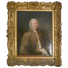Unknown 18th Century Oil Portrait Painting in Giltwood Frame