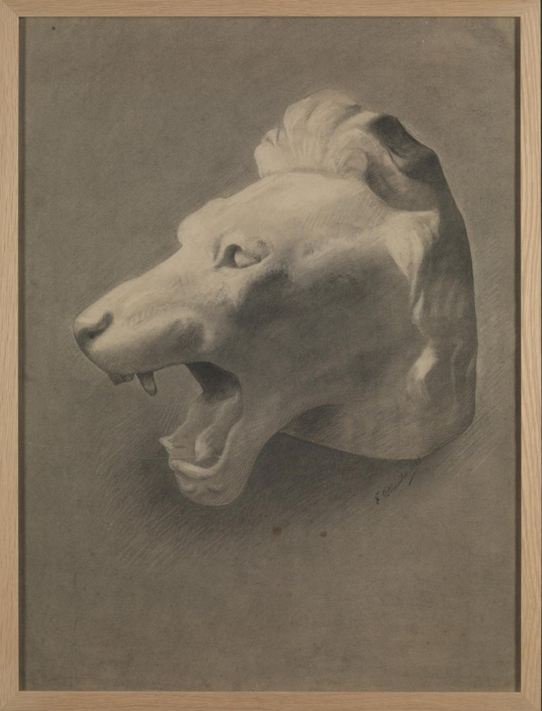 Belgian Unknown Academy Student Drawing, Pencil on Paper, Framed, Signed and Dated For Sale