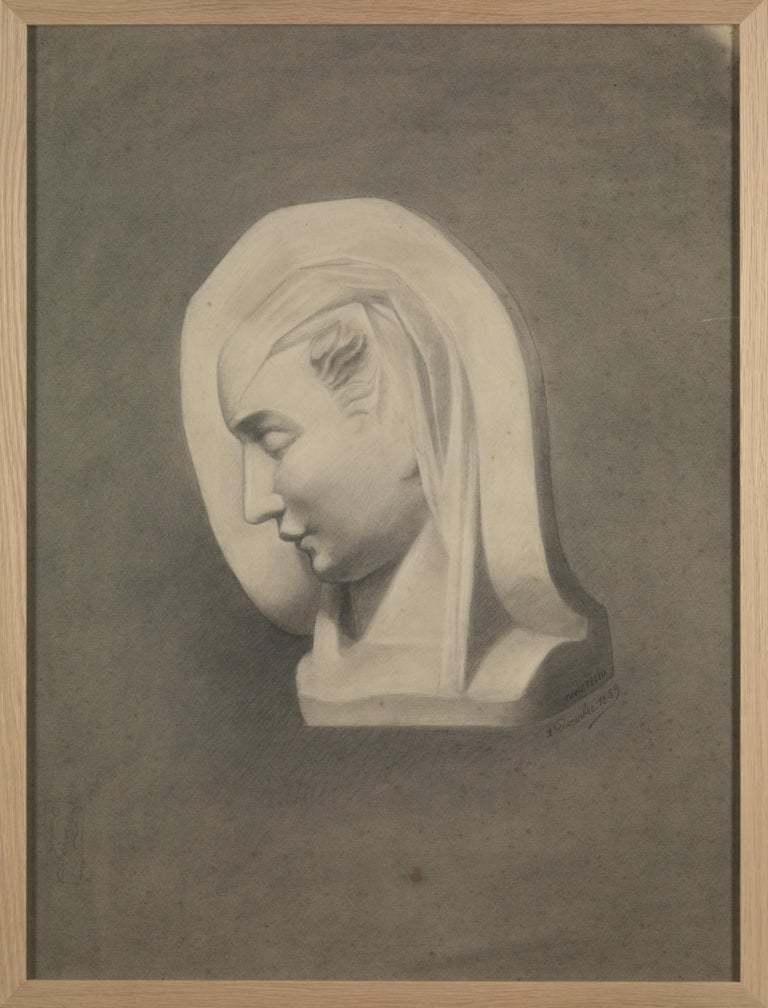 Unknown academy student 19th century drawing, pencil on paper, framed, some are signed and dated.
