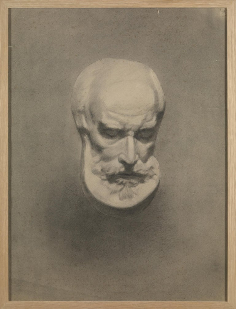 Belgian Unknown Academy Student 19th Century Drawing, Pencil on Paper, Framed, Dated For Sale