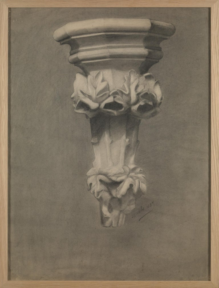 Unknown Academy Student 19th Century Drawing, Pencil on Paper, Framed, Dated In Good Condition For Sale In Leuven , BE