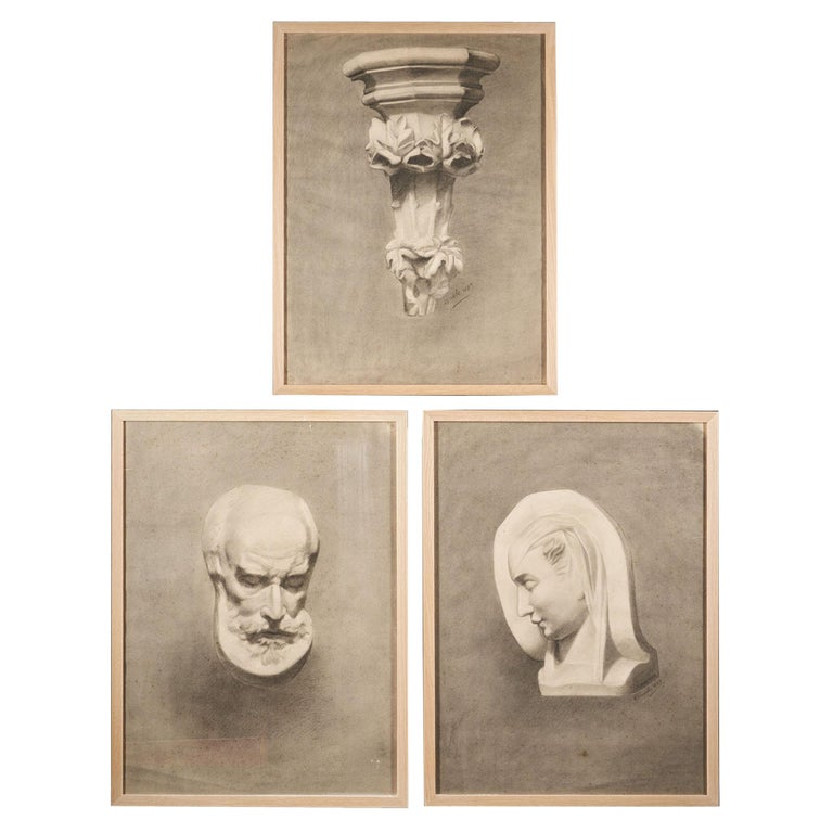 Unknown Academy Student 19th Century Drawing, Pencil on Paper, Framed, Dated For Sale
