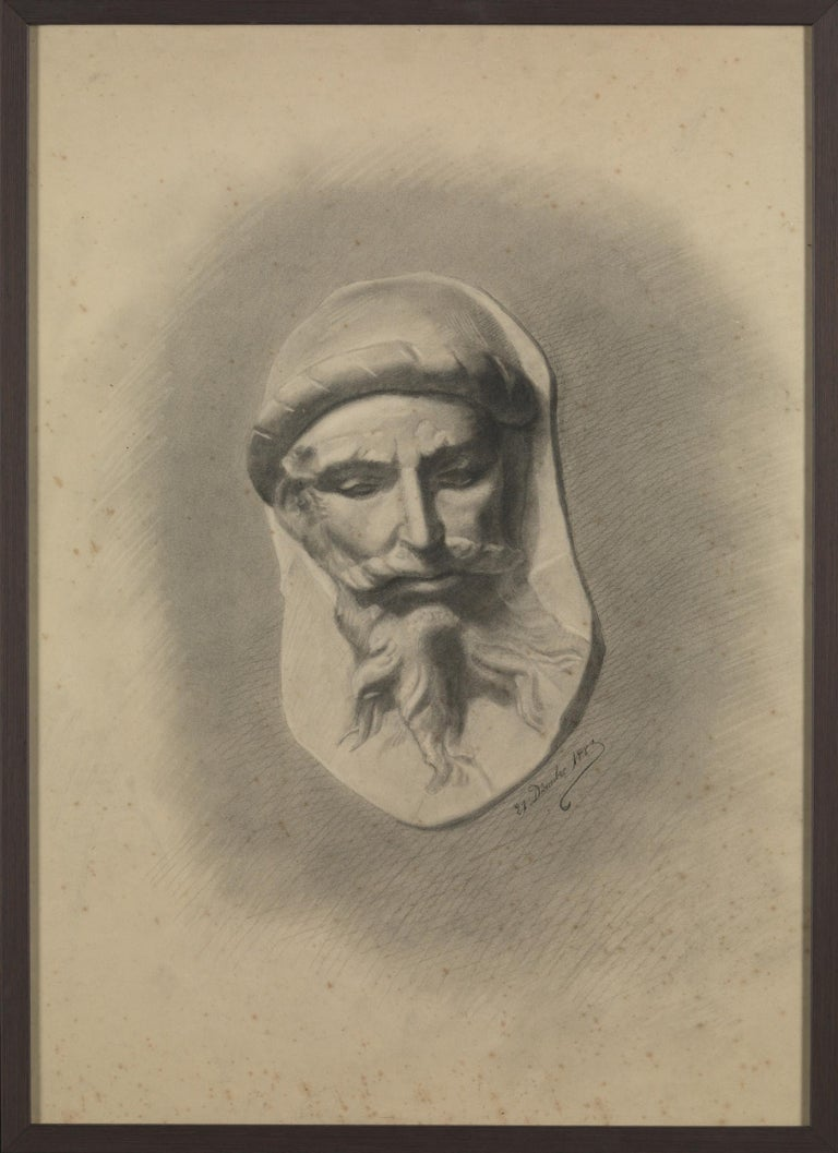 Unknown academy student 19th century drawing, pencil on paper, framed, signed and dated.