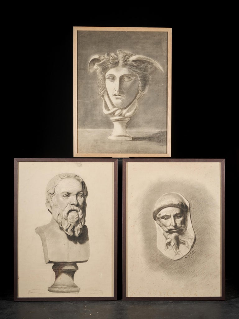 19th Century Unknown Academy Student Drawing, Pencil on Paper, Framed, Signed and Dated For Sale