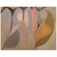 Unknown Artist, Oil Crayon on Paper, Abstract Composition, Mid-20th Century