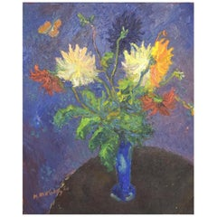 Unknown Artist, Oil on Canvas, Flower Bouquet on Table Painted in Modernist Styl