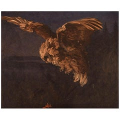 Unknown Artist, Oil on Canvas, Night Scenery with Owl, Dated 1934