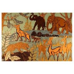 Unknown Artist, Textile Art, Fabric on Board, Naivistic Jungle Motif