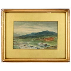 Unknown Artist Watercolor Painting, Depicting Mountain's Scenery, 1940s