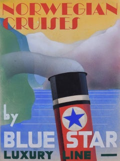 1930s Art Deco design for poster for Norwegian Cruises by Blue Star Luxury Line