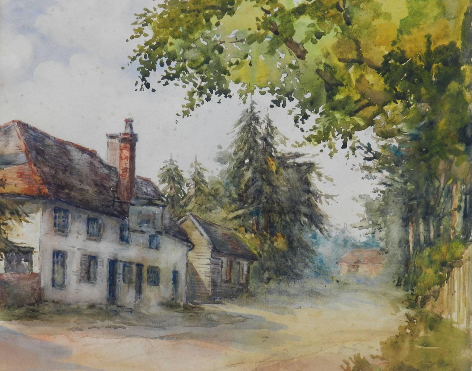 English Country Lane 19th century Watercolour signed initials MEB