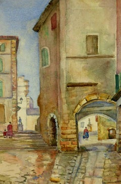 French Watercolor of Mediterranean Village