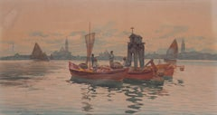 Gondolier on the Venetian Lagoon; and Fisher foke before Venice at dusk (2)