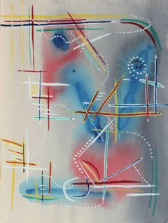Minimal Abstract in Red and Blue, Watercolor, Mid 20th Century