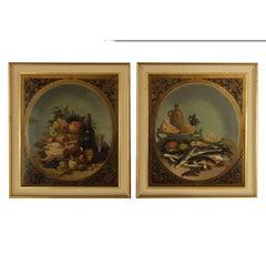 Pair of Still Lives Oil on Canvas 19th Century