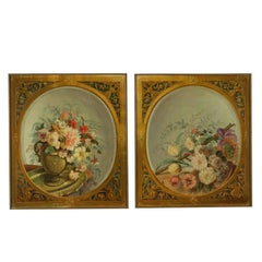 Pair of Still Lives with Flowers Brass Frames 19th Century