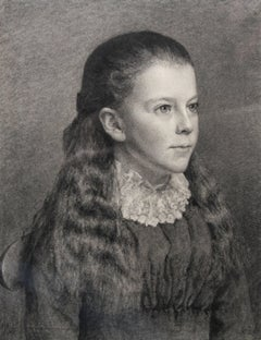 Portrait of a Young Girl - Victorial British portrait pencil drawing