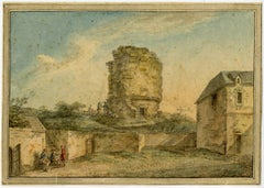 Untitled - View of an old citywall with ruined tower. Two groups of figures.