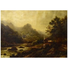Unknown European Artist, Oil on Canvas, River Landscape with Mountains
