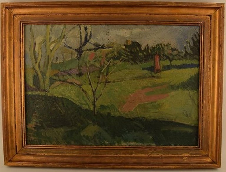 Unknown French artist, modernist landscape, 1944.