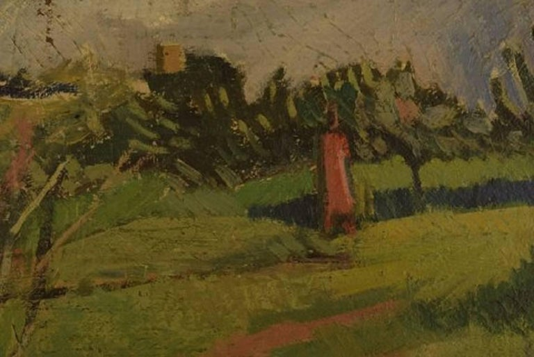 Unknown French Artist, Modernist Landscape, 1944, Oil on Canvas In Good Condition For Sale In Copenhagen, Denmark
