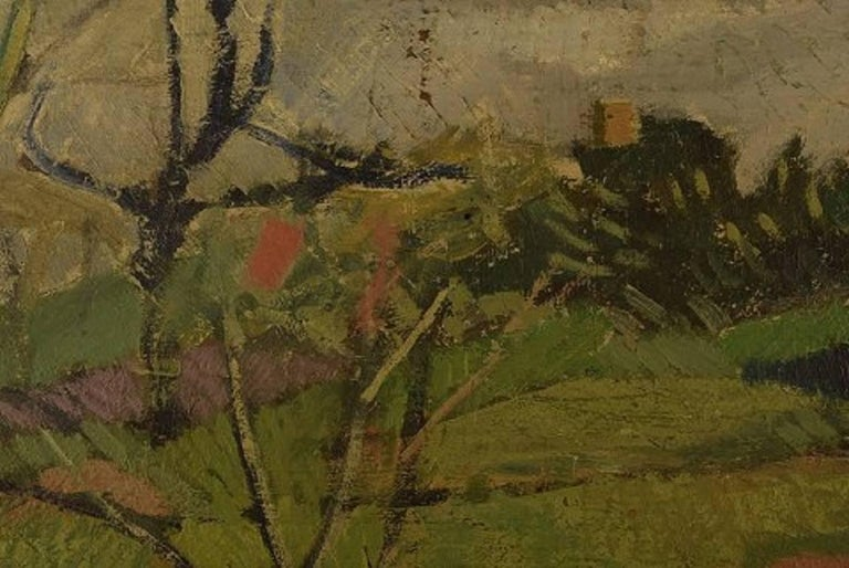 Mid-20th Century Unknown French Artist, Modernist Landscape, 1944, Oil on Canvas For Sale