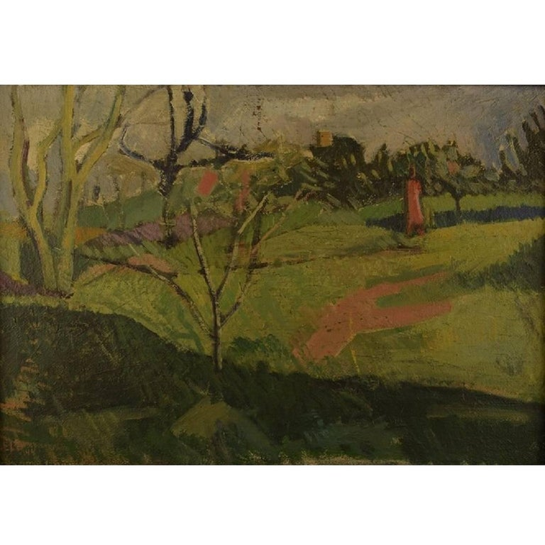 Unknown French Artist, Modernist Landscape, 1944, Oil on Canvas For Sale