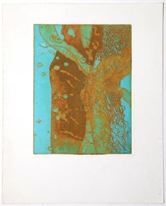 Abstract Composition - Original Mixed Media Etching on Paper - Late 20th Century
