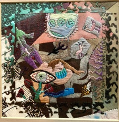 Abstract Needlepoint Textile Collage Woven Wall Hanging