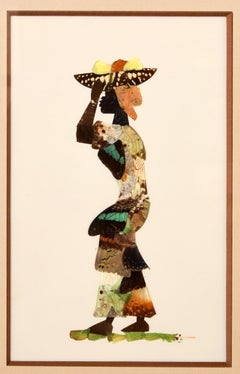 African Butterfly Woman - Vintage Collage made with real Butterflies - 1950s