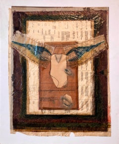 Angel Wings Mixed Media Collage Painting Assemblage Piece Stitched and Sewn