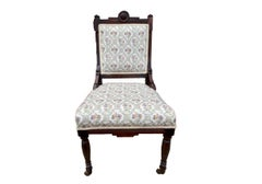 Antique Eastlake Victorian Chair w/ Hand-Carved Walnut Wood & Floral Fabric