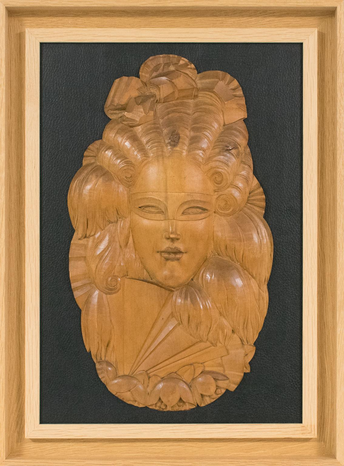 Art Deco Venetian Mask Handcrafted Wood Panel Wall Sculpture