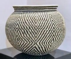 Basket, black, white handwoven Panama Rainforest Wounaan Tribe geometric star