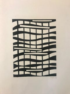 Black and White 19 by Ivan, Abstract Vintage Mixed Media on Paper Painting