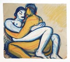 Couple - Original Drawing in Mixed Media - 1940 ca.