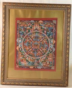 Framed Hand Painted Original Mandala Thangka with 24K Gold on Canvas