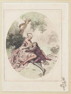 Gallant Scene - Original Offset Print - 20th Century