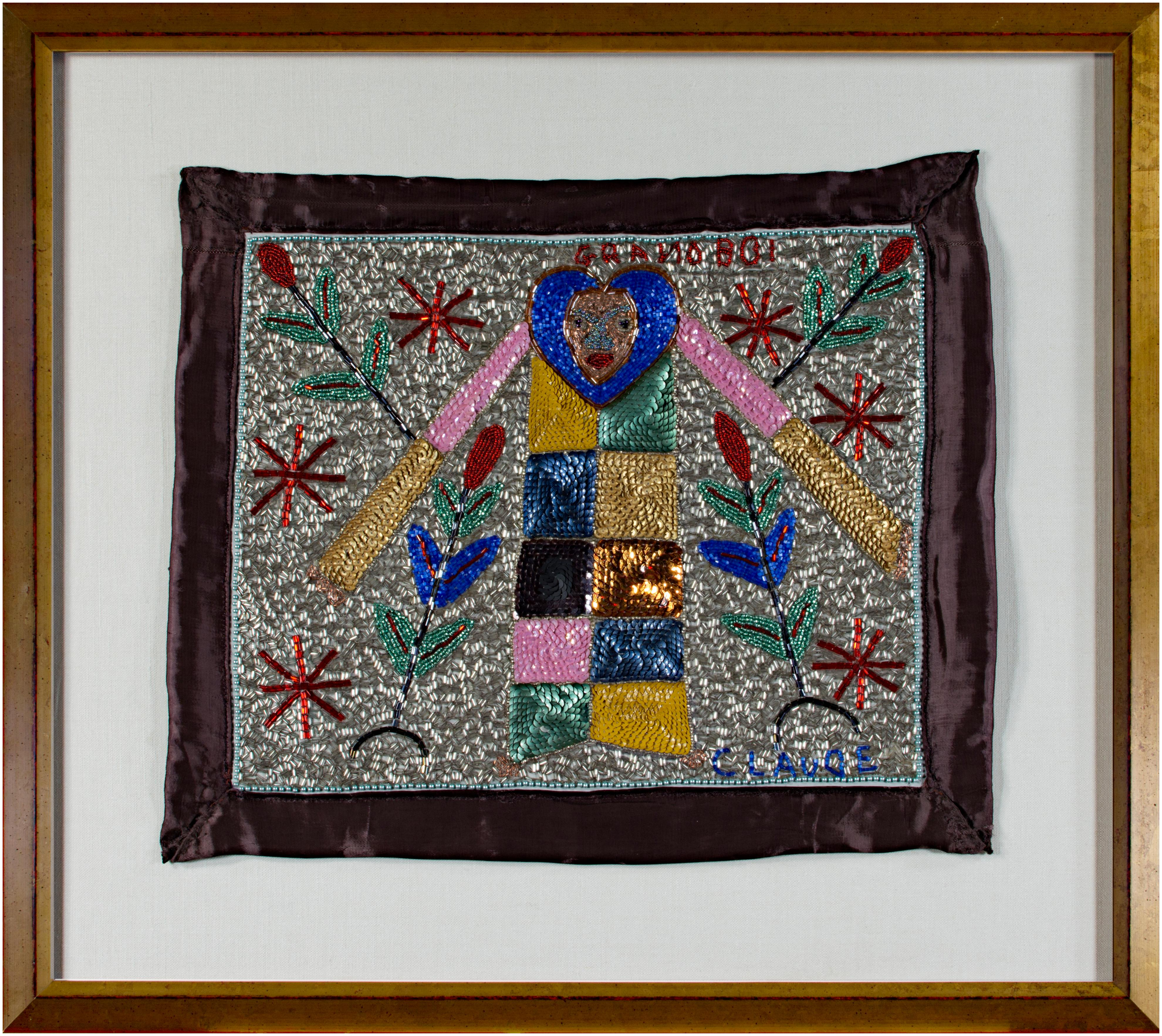 """Haitian Voodoo Beaded Flag with Gran Bwa signed """"Claude"""""""