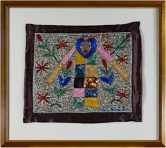 "Haitian Voodoo Beaded Flag with Gran Bwa signed ""Claude"""