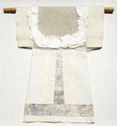 Hand Papermaking Embossed Cream Kimono Japanese Fiber art