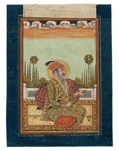 Indian Sultan - Original painting in Mixed Media on Paper - 19th Century