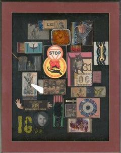Inge Clayton FRSA (1942-2010) - Framed 1978 Mixed Media, Match Box Collage